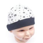 "Mütze Grösse 39-41cm ""Sterne schwarz auf grau"""